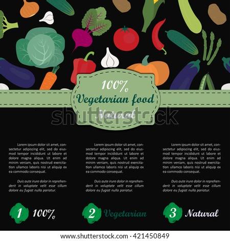Vegetarian Brochure Template With Hand Drawn Vegetables. Menu, Poster,  Flyer Or Banner Design