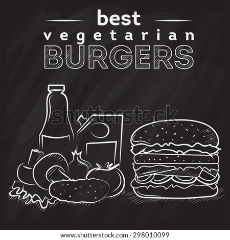 Vegetarian burger poster on black chalkboard. Chalk painted illustration of vegan burger. ingredients of vegetarian burger on black chalkboard. Vegan burger menu poster on blackboard - stock vector