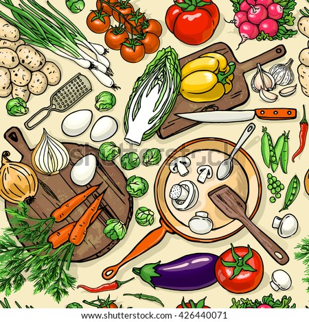 Vegetarian food recipes seamless pattern vegetables vector de vegetarian food recipes seamless pattern with vegetables and kitchenware colorful top view cooking items background forumfinder Choice Image