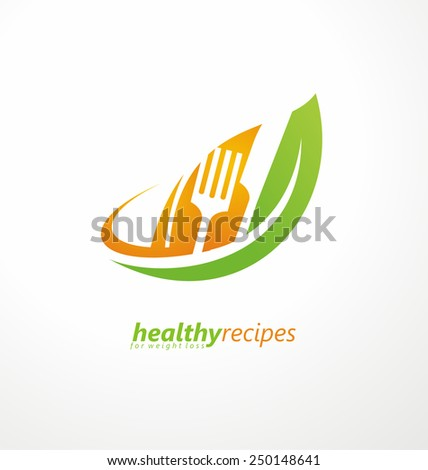 Vegetarian food symbol. Leaf shape with knife and fork in negative space. Creative logo design concept for healthy food. Vector icon illustration. - stock vector