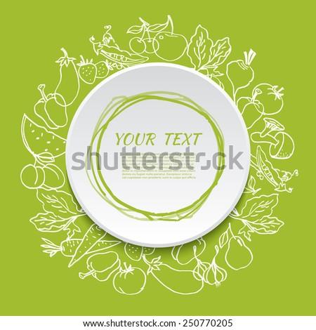Vegetarian vegetable  organic food background. Vector illustration - stock vector