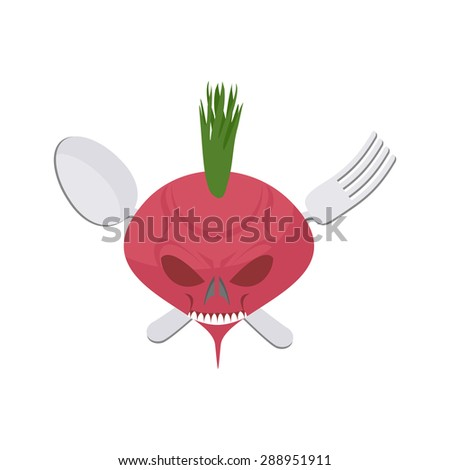 Veggie logo. Scary beet with eyes and teeth. Fork and spoon. Vector emblem - stock vector