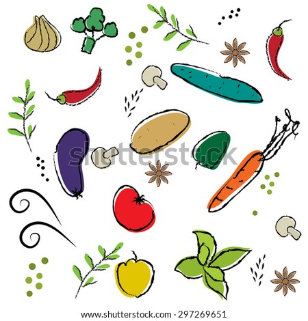 Veggie seamless pattern - stock vector