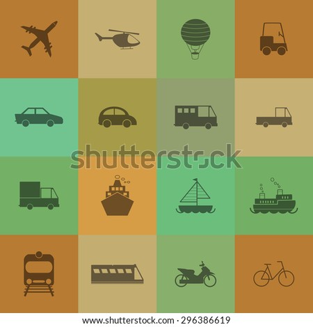Vehicle and transport icons on retro colour background - stock vector