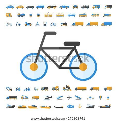 Vehicle and Transportation flat icon set. Vector flat design illustration.  - stock vector