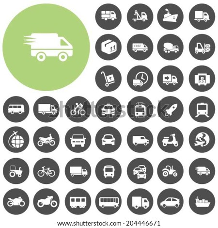 Vehicle and Transportation icons set - stock vector