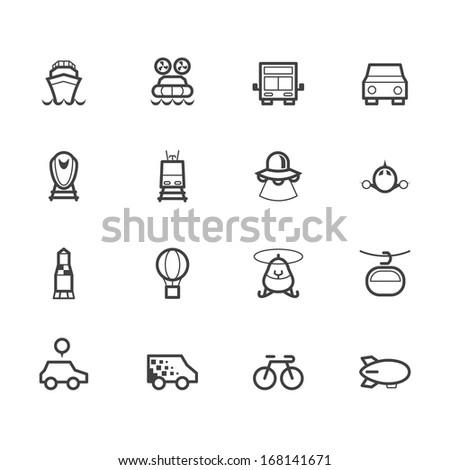 vehicle black icon set on white background - stock vector