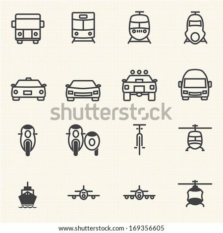 Vehicle icon set - stock vector