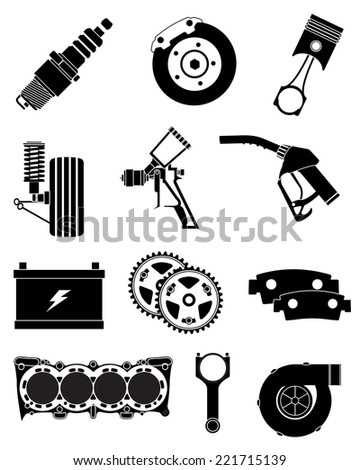 Vehicle Parts icons set - stock vector
