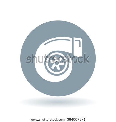 Vehicle performance turbo icon. Car turbocharger sign. Performance turbo compressor symbol. White turbo icon on cool grey circle background. Vector illustration. - stock vector