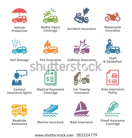 Vehicle Protection Icons - Colored Series - stock vector