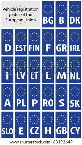 Vehicle registration plates of European Union states with country code abbreviations. - stock vector
