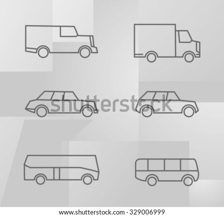 Vehicle set, thin lines - stock vector