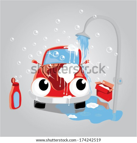 vehicle taking car wash shower. personalized automobile with eyes. Fully editable .eps 10 on separated layers - stock vector