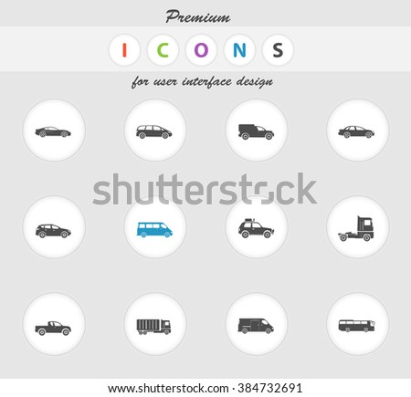 Vehicles color icon for web sites and user interface - stock vector