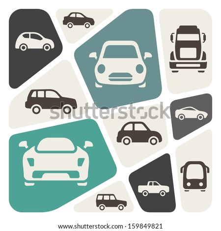 Vehicles icon set - stock vector
