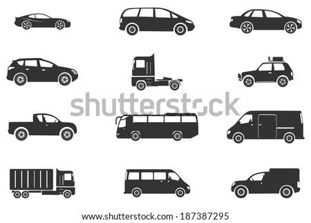 Vehicles Icon Set - stock vector