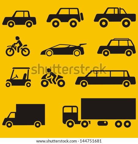 Vehicles Symbols - stock vector