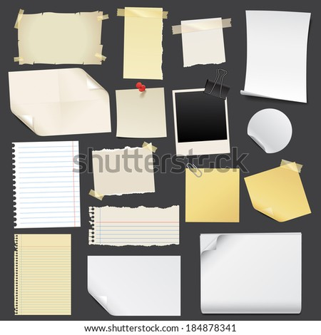 Vektor notes paper set - stock vector
