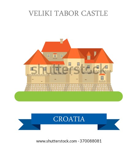 Veliki Tabor Castle in Zagorje Croatia. Flat cartoon style historic sight showplace attraction web site vector illustration. World countries cities vacation travel sightseeing collection.