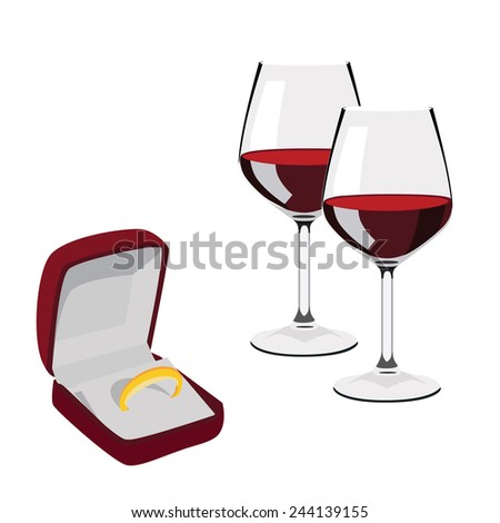 Velvet jewellery opened box with golden wedding ring and two red wine glasses vector isolated on white - stock vector