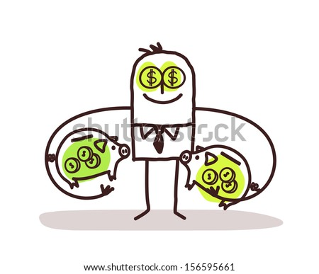 Venal Man Keeping Piggy Banks - stock vector