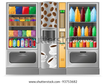 vending coffee snack and water is a machine vector illustration - stock vector