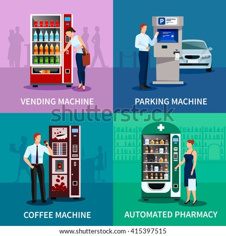 Vending machine concept icons set with parking and coffee machines flat isolated vector illustration  - stock vector