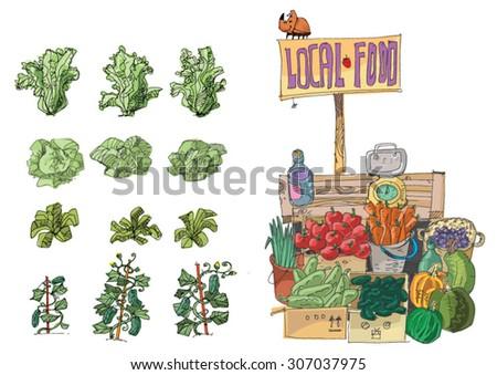 vendor of locally grown produce - cartoon - stock vector