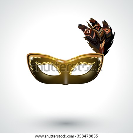 Venetian carnival mask with feathers - stock vector