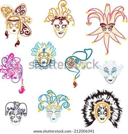 Venetian Mask Set - stock vector