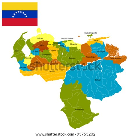 Venezuela districts map and flag over white background. - stock vector