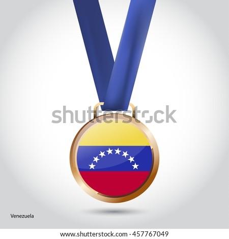 Venezuela  Flag in Bronze Medal. Vector Illustration - stock vector