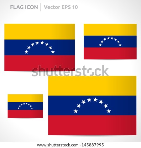 Venezuela flag template | vector symbol design | color yellow red white and blue | icon set - stock vector