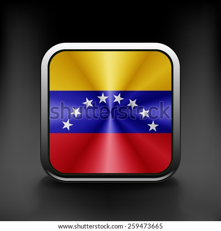 Venezuela icon flag national travel icon country symbol button. - stock vector