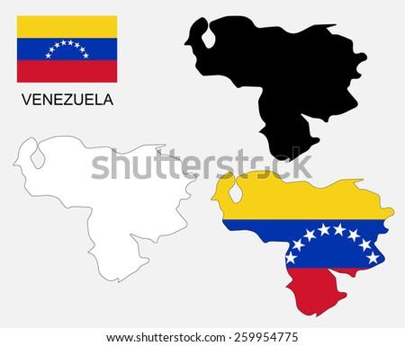 Venezuela map and flag vector, Venezuela map, Venezuela flag - stock vector