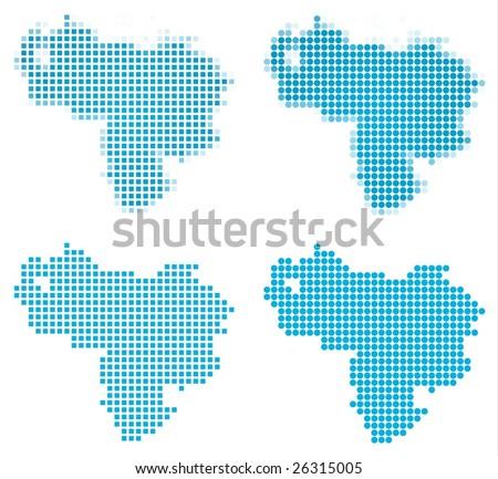Venezuela map mosaic set. Isolated on white background. - stock vector