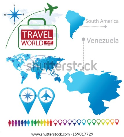 Venezuela. south america. World Map. Travel vector Illustration. - stock vector