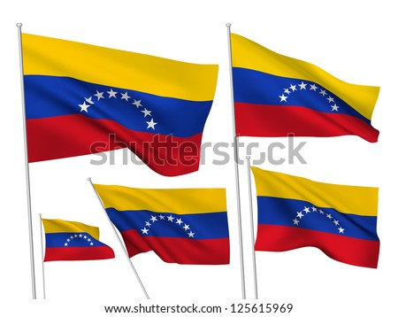 Venezuela vector flags. A set of 5 wavy 3D flags created using gradient meshes - stock vector