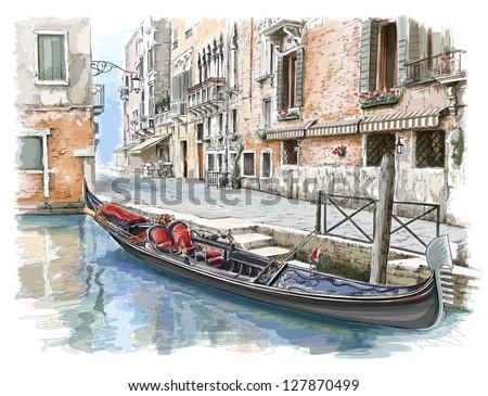 Venice - Calle Fondamenta Megio. Ancient building & gondola. Vector sketch. Eps10 - stock vector