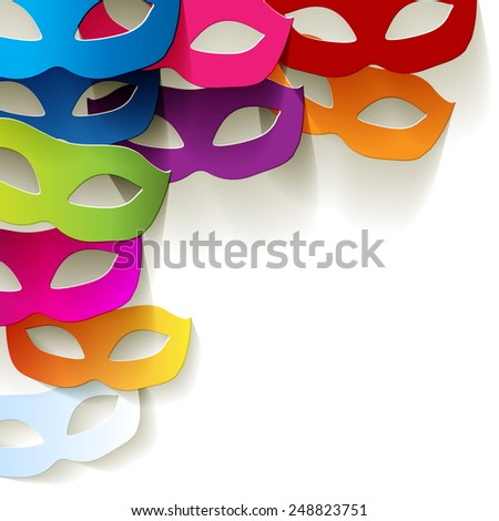Venice carnival mask in the corner paper colorful - stock vector