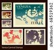 Venice Carnival stamps - stock vector