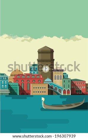 Venice City buildings near the river on which the gondola floats in the daytime  - stock vector