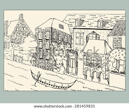 Venice City buildings near the river on which the gondola floats, Vector drawing. Ancient building. Venice Print Design. Vector sketch.