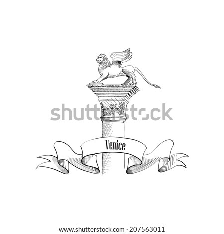 Venice city symbol Sa Marco on statue. Italian landmark label isolated over white background with copy space. Travel Italy set. - stock vector