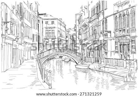Venice - Fondamenta Rio Marin - stock vector