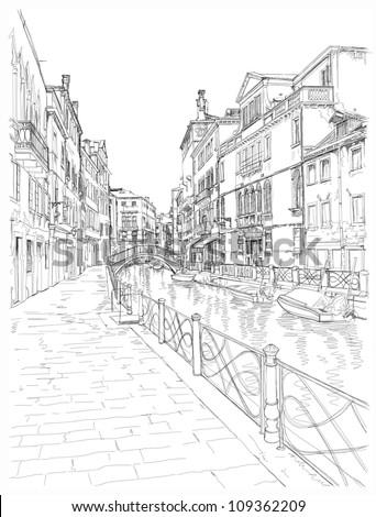 Venice - Fondamenta Rio Marin. Vector drawing - stock vector