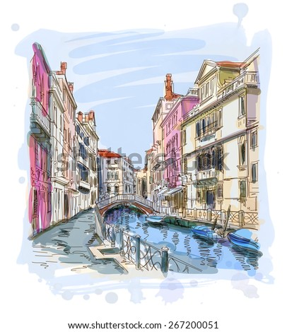 Venice - Fondamenta Rio Marin. Vector illustration. Eps 10 - stock vector