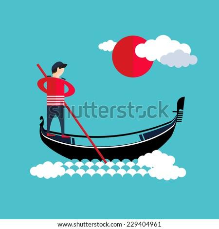 Venice gondola, gondolier icon - stock vector