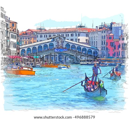 Venice - Grand Canal. View of the Rialto Bridge. Vector color drawing